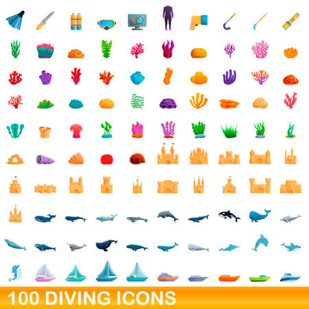 100 diving icons set. Cartoon illustration of 100 diving icons vector set isolated on white background