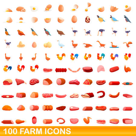 100 farm icons set. Cartoon illustration of 100 farm icons vector set isolated on white background