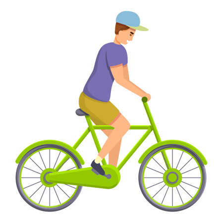 Kid ride bike icon. Cartoon of kid ride bike vector icon for web design isolated on white background