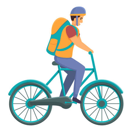 Fast food bike delivery icon. Cartoon of fast food bike delivery vector icon for web design isolated on white background 向量圖像