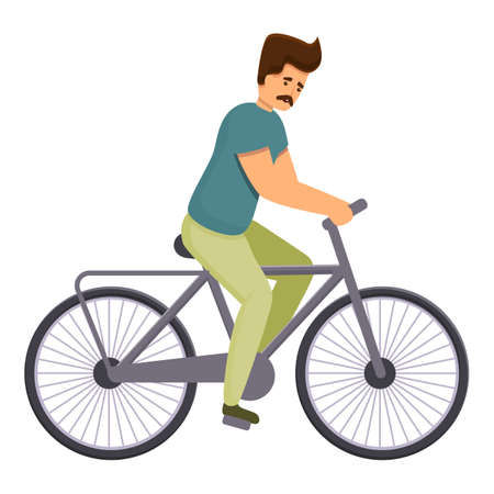 Healthy bike ride icon. Cartoon of healthy bike ride vector icon for web design isolated on white background