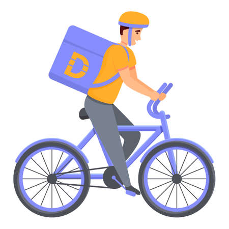 Bike home delivery icon. Cartoon of bike home delivery vector icon for web design isolated on white background