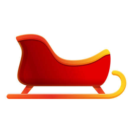 Present gift sleigh icon. Cartoon of present gift sleigh vector icon for web design isolated on white background