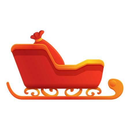Santa bag sleigh icon. Cartoon of santa bag sleigh vector icon for web design isolated on white background