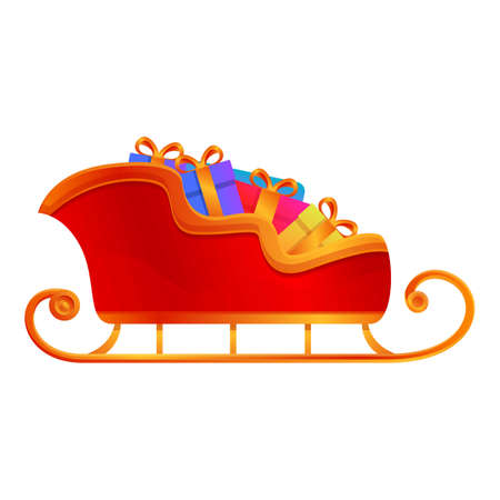 Full gift box sleigh icon. Cartoon of full gift box sleigh vector icon for web design isolated on white background 向量圖像