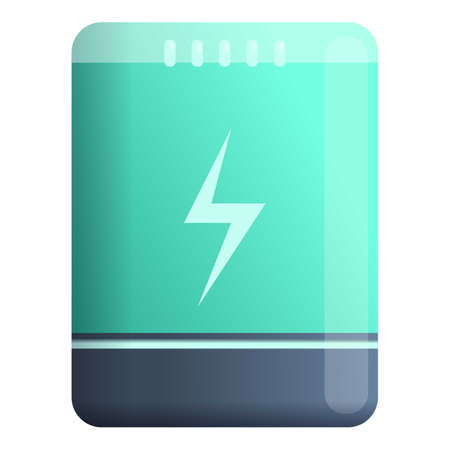 Energy power bank icon. Cartoon of energy power bank vector icon for web design isolated on white background Çizim