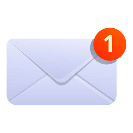 New inbox envelope icon. Cartoon of new inbox envelope vector icon for web design isolated on white background Çizim