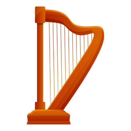 Harp music icon. Cartoon of harp music vector icon for web design isolated on white background