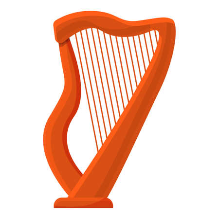 Harp concert icon. Cartoon of harp concert vector icon for web design isolated on white background
