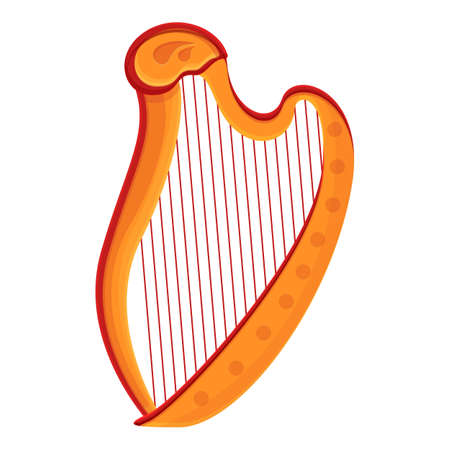 Musical harp icon. Cartoon of musical harp vector icon for web design isolated on white background