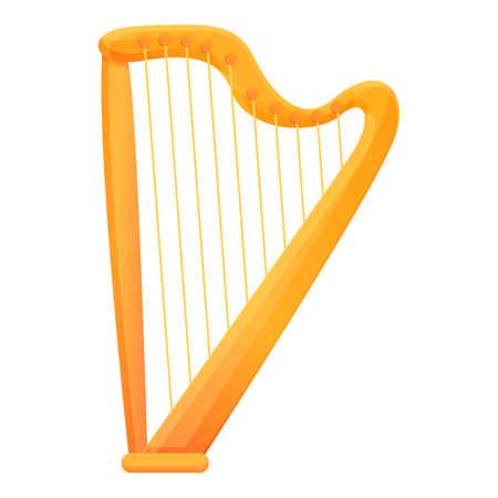 Retro harp icon. Cartoon of retro harp vector icon for web design isolated on white background Ilustración de vector
