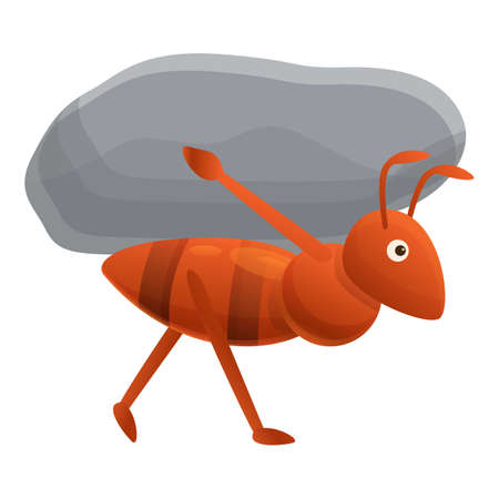 Ant carry stone icon. Cartoon of ant carry stone vector icon for web design isolated on white background
