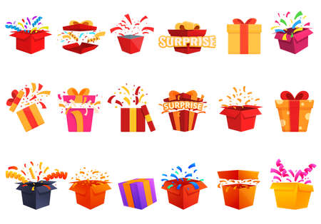 Surprise icons set. Cartoon set of surprise vector icons for web design