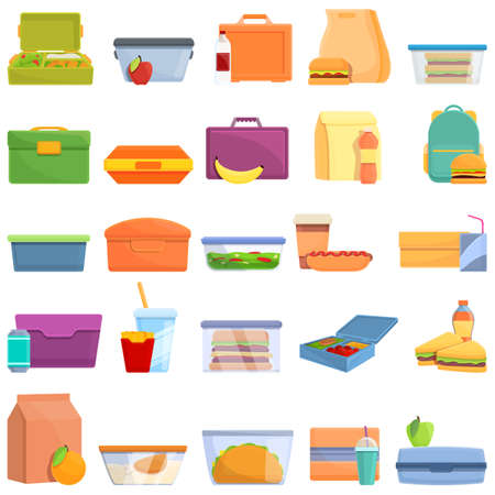 Lunch icons set. Cartoon set of lunch vector icons for web design