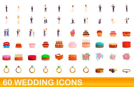 60 wedding icons set. Cartoon illustration of 60 wedding icons vector set isolated on white background