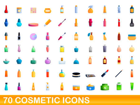 70 cosmetic icons set. Cartoon illustration of 70 cosmetic icons vector set isolated on white background