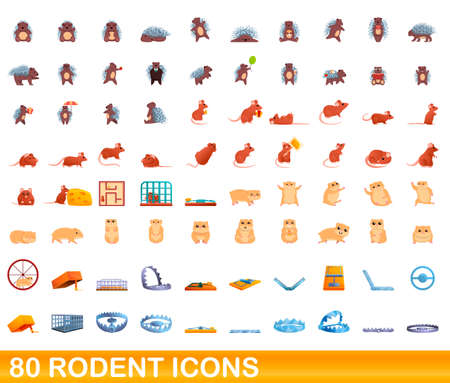 80 rodent icons set. Cartoon illustration of 80 rodent icons vector set isolated on white background