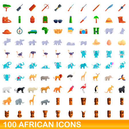 100 african icons set. Cartoon illustration of 100 african icons vector set isolated on white background