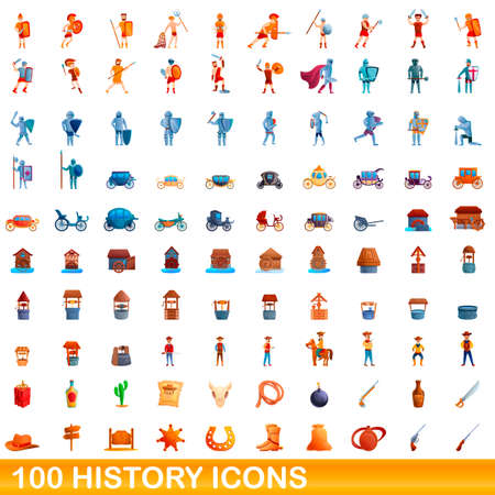 100 history icons set. Cartoon illustration of 100 history icons vector set isolated on white background Vettoriali