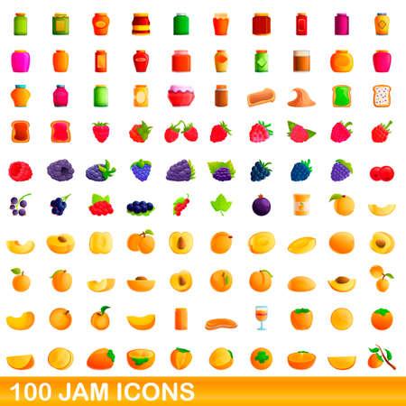 100 jam icons set. Cartoon illustration of 100 jam icons vector set isolated on white background