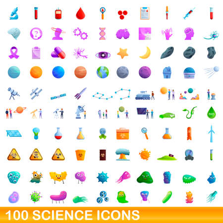 100 science icons set. Cartoon illustration of 100 science icons vector set isolated on white background