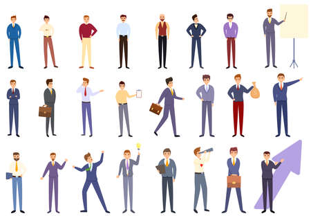 Successful businessman icons set. Cartoon set of successful businessman vector icons for web design 矢量图像