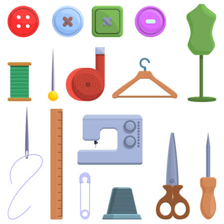 Clothing repair icons set. Cartoon set of clothing repair vector icons for web design 矢量图像