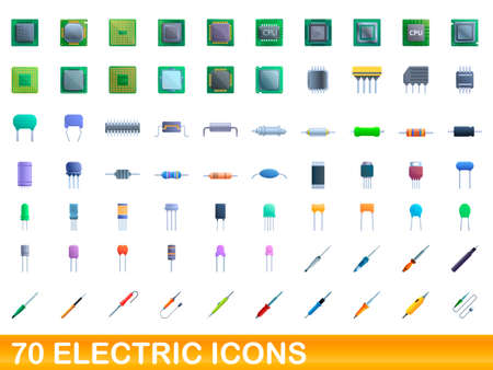 70 electric icons set. Cartoon illustration of 70 electric icons vector set isolated on white background