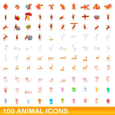 100 animal icons set. Cartoon illustration of 100 animal icons vector set isolated on white background  イラスト・ベクター素材