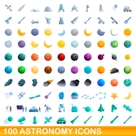 100 astronomy icons set. Cartoon illustration of 100 astronomy icons vector set isolated on white background