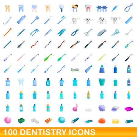 100 dentistry icons set. Cartoon illustration of 100 dentistry icons vector set isolated on white background Vectores