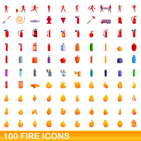 100 fire icons set. Cartoon illustration of 100 fire icons vector set isolated on white background
