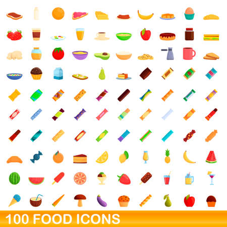 100 food icons set. Cartoon illustration of 100 food icons vector set isolated on white background  イラスト・ベクター素材