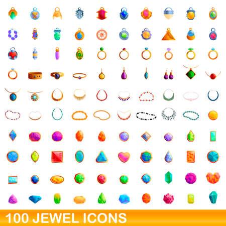 100 jewel icons set. Cartoon illustration of 100 jewel icons vector set isolated on white background Vettoriali