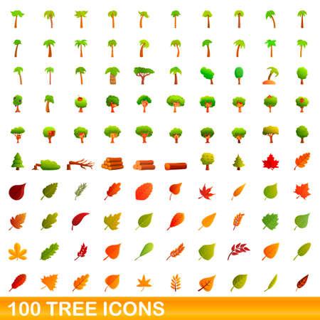 100 tree icons set. Cartoon illustration of 100 tree icons vector set isolated on white background