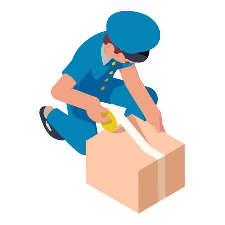 Postman packing parcel icon. Isometric of postman packing parcel vector icon for web design isolated on white background