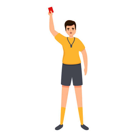 Referee show red card icon. Cartoon of referee show red card vector icon for web design isolated on white background 矢量图像