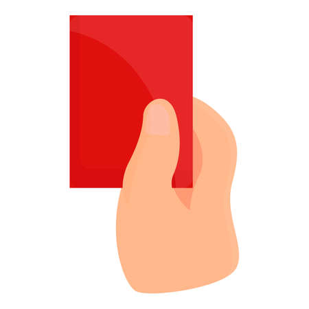 Referee red card icon. Cartoon of referee red card vector icon for web design isolated on white background  イラスト・ベクター素材