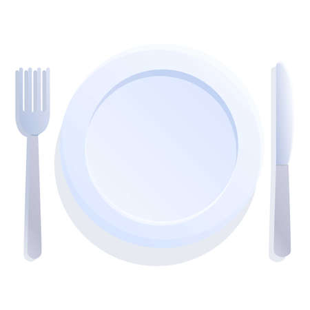 Fork spoon plate icon. Cartoon of fork spoon plate vector icon for web design isolated on white background 向量圖像