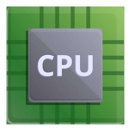 Cpu processor icon. Cartoon of cpu processor vector icon for web design isolated on white background