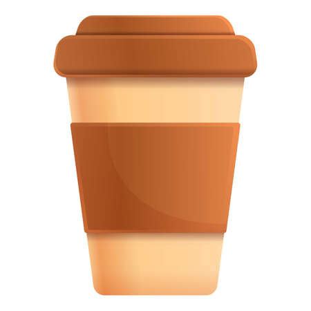 Plastic coffee cup icon. Cartoon of plastic coffee cup vector icon for web design isolated on white background