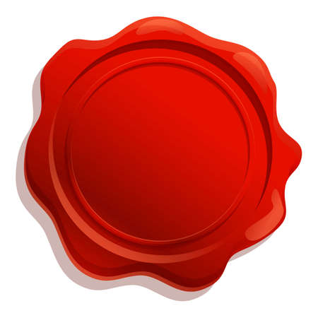 Insignia wax seal icon. Cartoon of insignia wax seal vector icon for web design isolated on white background Vetores