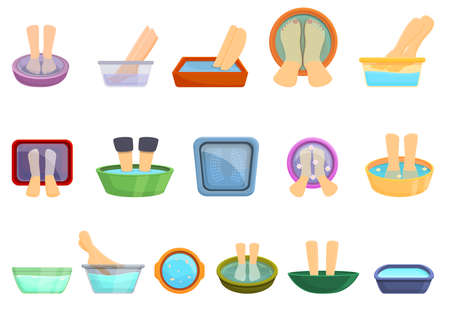 Foot bath icons set. Cartoon set of foot bath vector icons for web design Ilustracja