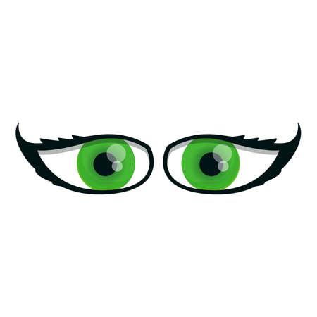 Green eyes icon. Cartoon of green eyes vector icon for web design isolated on white background