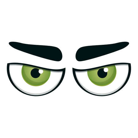 Angry looking eyes icon. Cartoon of angry looking eyes vector icon for web design isolated on white background 向量圖像