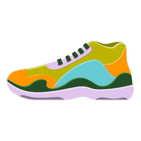 Colorful sneakers icon. Cartoon of colorful sneakers vector icon for web design isolated on white background