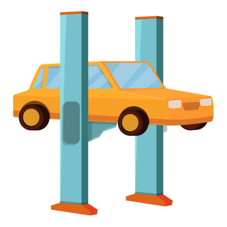 Car lift machine icon. Cartoon of car lift machine vector icon for web design isolated on white background