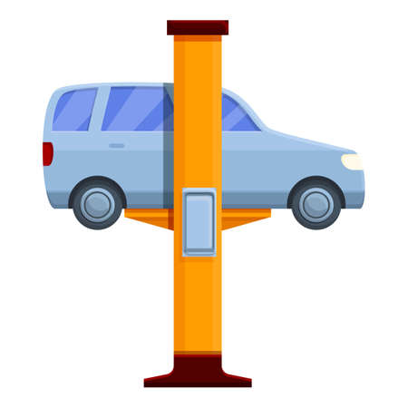 Car on service lift icon. Cartoon of car on service lift vector icon for web design isolated on white background 向量圖像