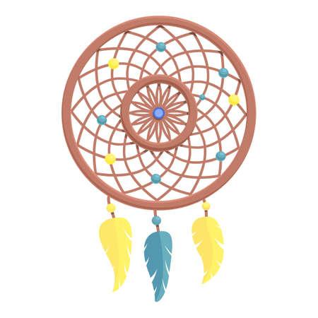 Tribal dream catcher icon. Cartoon of tribal dream catcher vector icon for web design isolated on white background Illusztráció