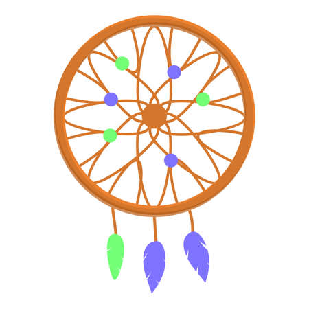 Ornament dream catcher icon. Cartoon of ornament dream catcher vector icon for web design isolated on white background
